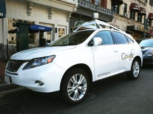 WASHINGTON, DC - APRIL 23: Googles Lexus RX 450H Self Driving Car is seen parked in Washington, DC.