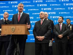 New York City Mayor Bill de Blasio and New York Police Department Commissioner Bill Bratton speak at a press conference regarding security in December.