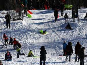 NEW YORK, NY - JANUARY 24: People sled in the snow in Brooklyn's Prospect Park following a blizzard on January 24, 2016 in the Brooklyn borough of New York City. The day long blizzard caused the shutdown of roadways in New York City and parts of the subway system as heavy snow and high winds paralysed parts of the city. The storm left 26.8 inches in Manhattan, the second most recorded since 1869. (Photo: Spencer Platt/Getty Images)