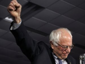 Sen. Bernie Sanders the night of the Iowa Caucuses.