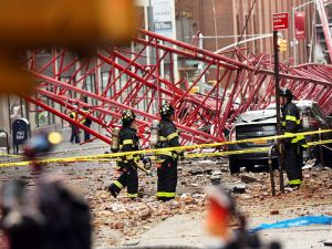 A view of the construction crane that collapsed on a street in downtown Manhattan last week.