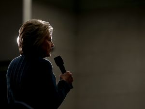 CONCORD, NH - FEBRUARY 06: Democratic presidential candidate former Secretary of State Hillary Clinton speaks during a get out the vote organizing event at Rundlett Middle School on February 6, 2016 in Concord, New Hampshire. With less than one week to go before the New Hampshire primaries, Hillary Clinton continues to campaign throughout the state. (Photo by Justin Sullivan/Getty Images)
