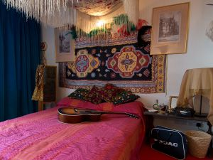 LONDON, ENGLAND - FEBRUARY 08: A recreation of Jimi Hendrix's bedroom is displayed at the Handel and Hendrix exhibition on February 8, 2016 in London, England. The permanent exhibtion in the former London home of Jimi Hendrix celebrates the lives of Jimi Hendrix and George Frideric Handel who also lived in the property next door in the 1700s.