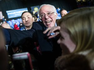 Sen. Bernie Sanders talking to supporters at a New Hampshire rally. (Photo: Andrew Burton for Getty Images)