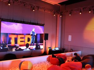 TED attendees watch a live-stream of the conference from bean-bag chairs in a pool filled with balls on February 16, 2016 in Vancouver. The global TED Conference features speakers on trends, challenges and innovations shaping the world.