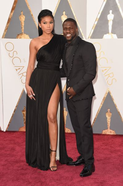 Eniko Parrish in Fausto Puglisi and Kevin Hart in Dolce & Gabbana