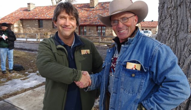 Author Peter Walker meets with Robert 'LaVoy' Finicum at the occupied Malheur National Wildlife refuge on January 20.