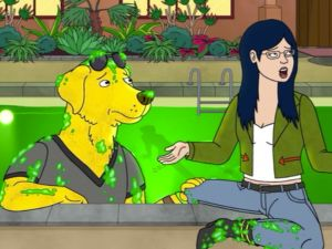 Mr. Peanutbutter (Peanutbutter is one word!) and Diane on Bojack Horseman.