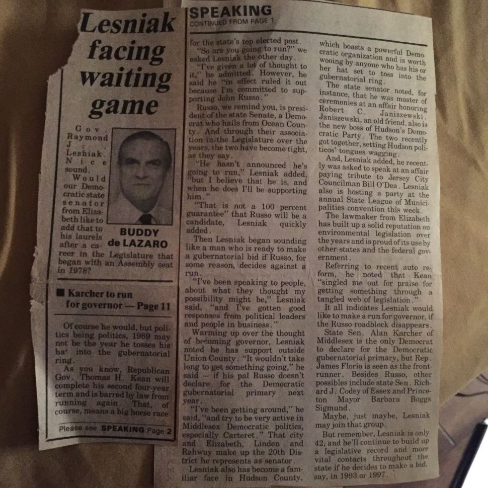 From the Daily Journal: Lesniak Facing Waiting Game