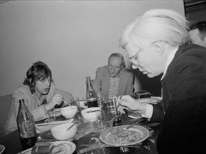 Marcia Resnick Dinner Jagger, Burroughs, Warhol, 1980.