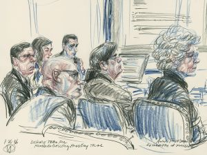 A drawing by Victor Juhasz of the defense team for the Knoedler Gallery forgery trial, with ex Knoedler president Ann Freedman.