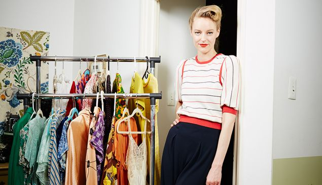 Vintage clothing blogger Laura Okita in Brooklyn apartment.