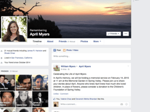 Memorial Facebook pages like this one are common after a person's death.