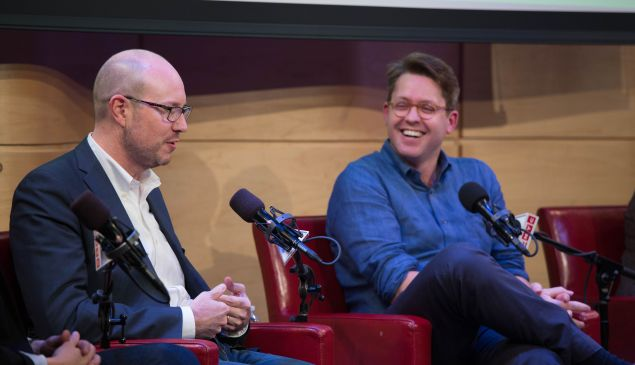 Panoply's Andy Bowers and Gimlet's Matt Lieber. (Photo: Courtesy of The Greene Space at WNYC & WQXR)