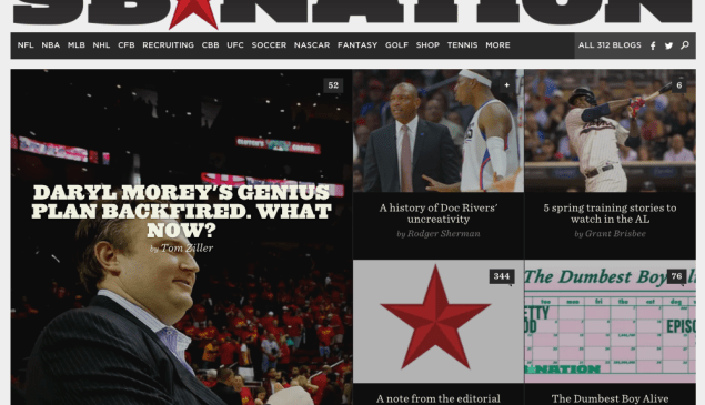 SB Nation's homepage