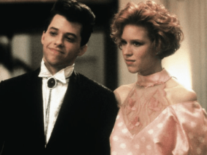 Molly Ringwald and Jon Cryer in Pretty in Pink (1986).