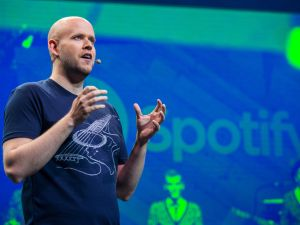 Spotify CEO speaks at a media event announcing updates to the music streaming application Spotify on May 20, 2015 in New York City. The latest updates include the ability to stream video content, podcasts and radio programs as well as original songs for the application.