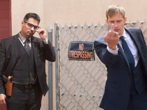 Michael Peña and Alexander Skarsgård in War on Everyone, directed by John Michael McDonagh.