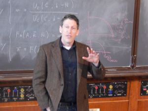 Physicist-Assemblyman Andrew Zwicker at home in the lecture hall once graced by Albert Einstein.