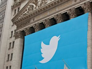A Twitter banner draped over the New York Stock Exchange to celebrate the company's IPO.