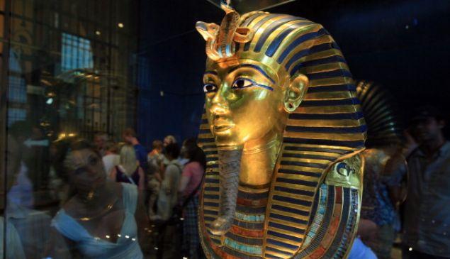 King Tutankhamun's golden mask displayed at the Egyptian museum in Cairo.