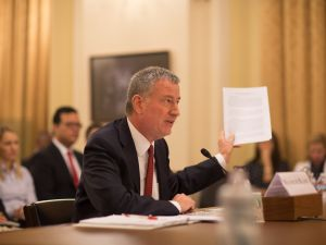 Mayor Bill de Blasio testifies before the House Homeland Security Emergency Preparedness Subcommittee in Washington, D.C. on Tuesday, March 15, 2016.