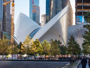 TRANSPORTATION HUB, NEW YORK CITY, NEW YORK, UNITED STATES - 2015/10/17: The World Trade Center Transportation Hub by Spanish architect Santiago Calatrava in New York city.
