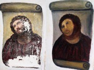 The original Ecce Homo, 1930, by Elías García Martínez on the left, and Cecilia Giménez's infamous restoration on the right.