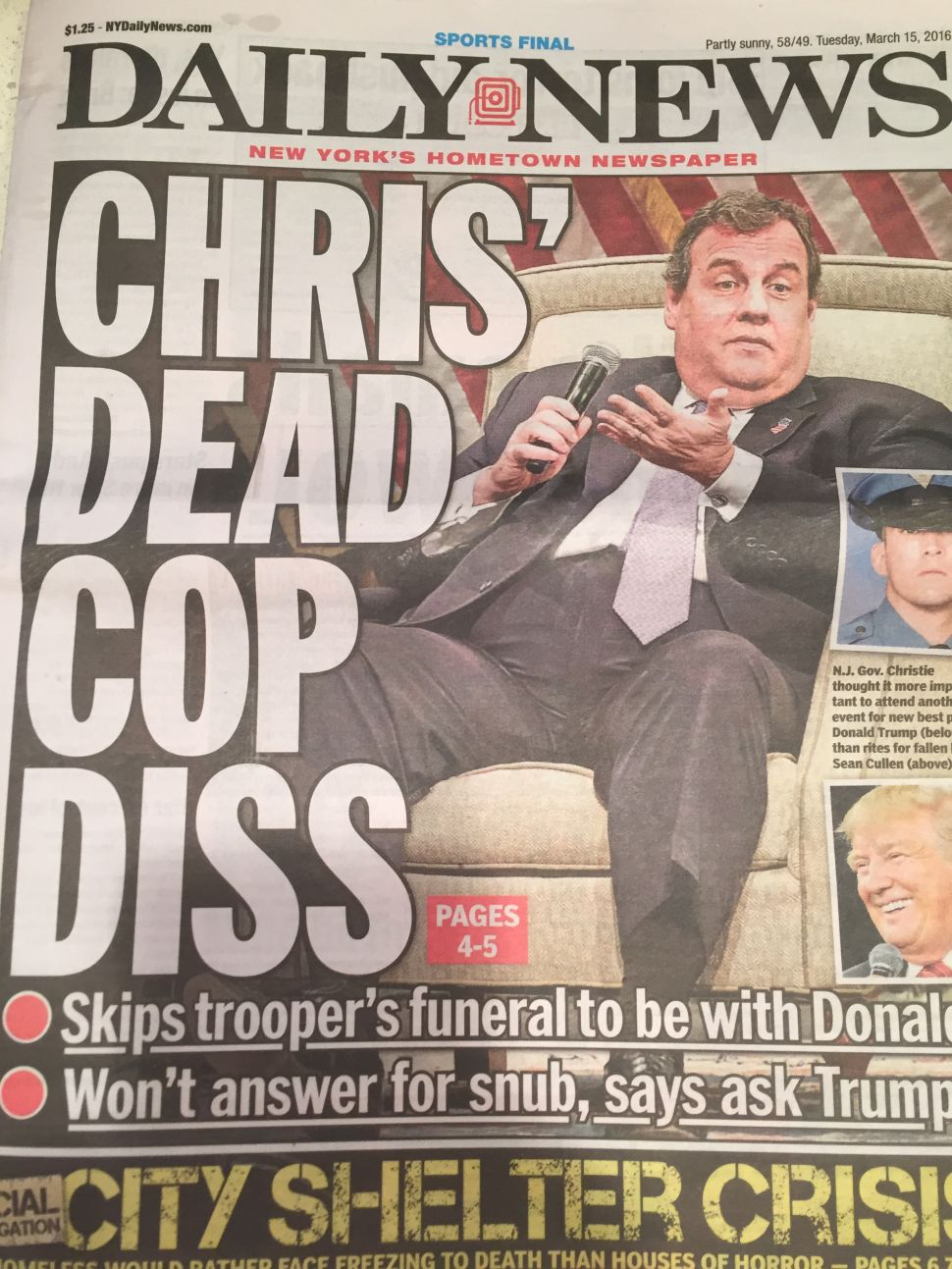 Daily News Front Page Rips Christie