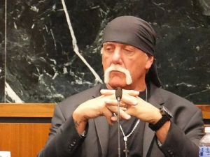 Closeup of Hulk Hogan in the courtroom.