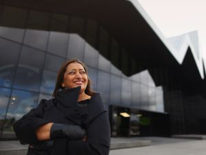 Zaha Hadid visits the Riverside Museum, her first major public commission in the UK on June 9, 2011 in Glasgow, Scotland.