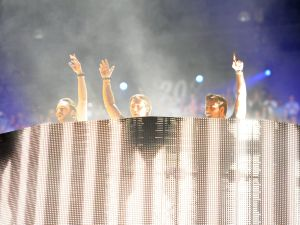 LAS VEGAS, NV - SEPTEMBER 21: Swedish House Mafia performs onstage during the 2012 iHeartRadio Music Festival at the MGM Grand Garden Arena on September 21, 2012 in Las Vegas, Nevada.