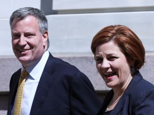Mayor bill de Blasio with former Council Speaker Christine Quinn.