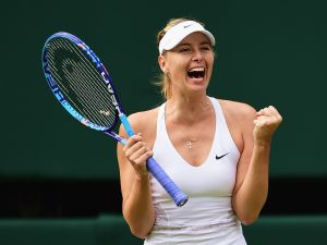 LONDON, ENGLAND - JULY 07: Maria Sharapova of Russia celebrates winning her Ladies Singles Quarter Final match against Coco Vandeweghe of the United States during day eight of the Wimbledon Lawn Tennis Championships at the All England Lawn Tennis and Croquet Club on July 7, 2015 in London, England.