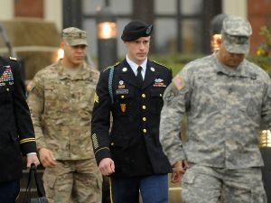 Army Sgt. Bowe Bergdahl (2nd R) of Hailey, Idaho, leaves a military courthouse with his attorney Lt. Col. Franklin Rosenblatt.