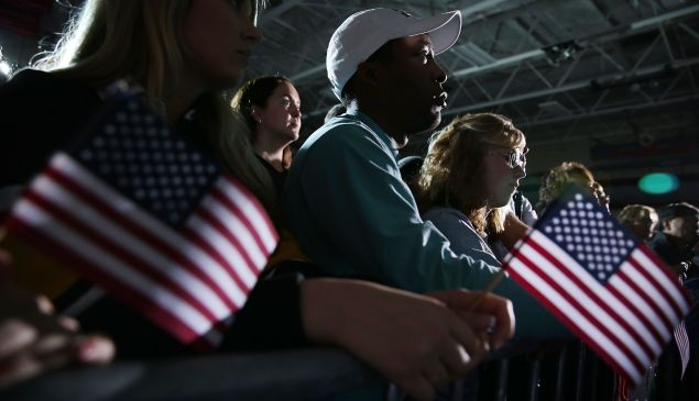 Supporters listen to Democratic presidential candidate Sen. Bernie Sanders (I-VT) during a campaign event at Grand View University January 31, 2016 in Des Moines, Iowa.