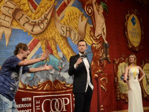 "Joseph Gordon-Levitt performs in skits with Hasty Pudding Theatricals, including ""That 1770's Show."""