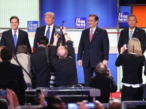 Sen. Marco Rubio (R-FL), Donald Trump, Sen. Ted Cruz (R-TX), and Ohio Gov. John Kasich. (Photo by Scott Olson/Getty Images)