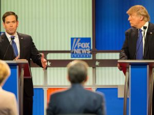 Republican Presidential Candidates Marco Rubio (L) and Donald Trump spar during the Republican Presidential Debate in Detroit, Michigan, March 3, 2016.