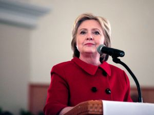Democratic Presidential Candidate Hillary Clinton speaks at the Russell Street Baptist Church March 6, 2016 in Detroit, Michigan. Clinton is campaigning in Michigan ahead of the primary on March 8.