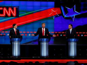 Republican Presidential candidates (L-R) Marco Rubio, Donald Trump, Ted Cruz and John Kasich participate in the CNN Presidential Debate March 10, 2016 in Miami.