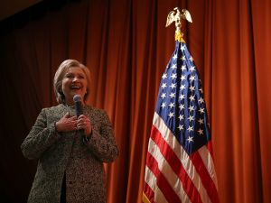 """Democratic presidential candidate, former Secretary of State Hillary Clinton speaks to an overflow crowd during a """"Get Out the Vote"""" event at the Sullivan Community Center and Family Aquatic Center on March 10, 2016 in Vernon Hills, Illinois. Clinton is campaigning in Florida, North Carolina and Illinois."""