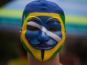 Protestors demonstrate demanding the removal of President Dilma Rousseff on March 13, 2016 in Sao Paulo, Brazil.