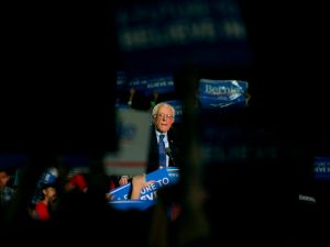 Democratic presidential candidate Sen. Bernie Sanders (D-VT) speaks to a crowd gathered at the Phoenix Convention Center during a campaign rally on March 15, 2016 in Phoenix, Arizona.