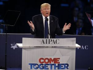 Republican presidential candidate Donald Trump addresses the annual policy conference of the American Israel Public Affairs Committee (AIPAC) March 21, 2016 in Washington, DC. Presidential candidates from both parties gathered in Washington to pitch their views on Israel.
