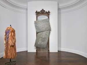 "Installation view of David Hammons, ""Five Decades"" at Mnuchin Gallery."