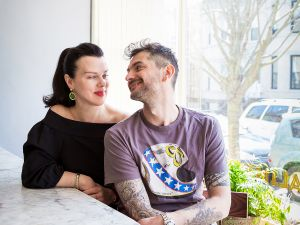 Debi Mazar and Gabriele Corcos at their Brooklyn restaurant The Tuscan Gun.