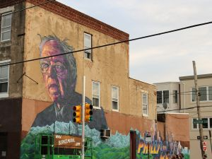 Bernie Sanders mural in Philadelphia.