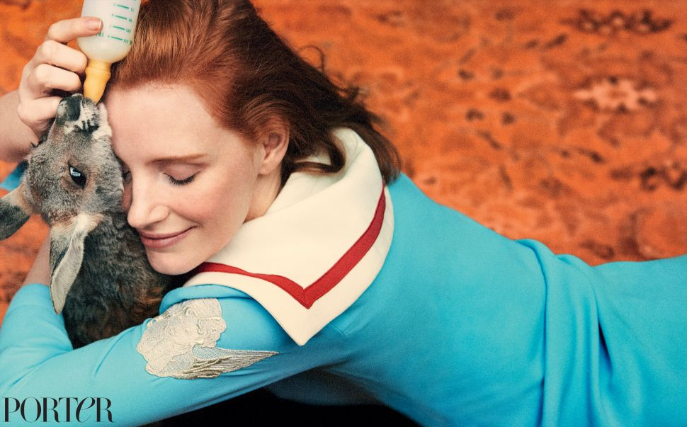 Jessica Chastain Shares Her Porter Cover With a Baby Kangaroo