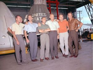 "The ""Mercury Seven"": From left, Gordon Cooper, Walter Schirra, Alan Shepard, Virgil Grissom, John Glenn, Deke Slayton and Scott Carpenter."